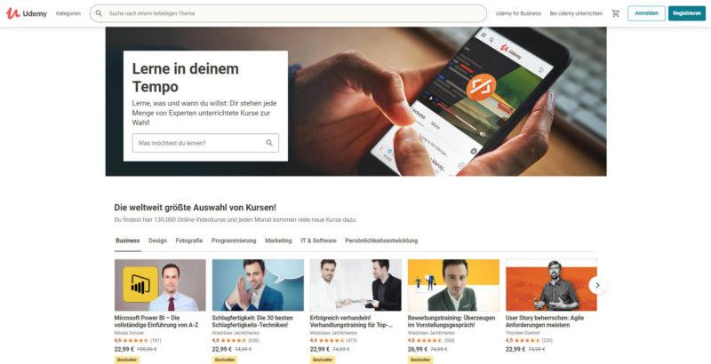 Udemy Startseite mit Kursen