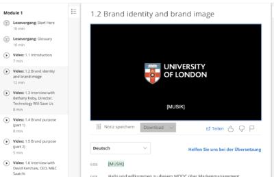 Video-Kurs Beispiel Nutzeroberfläche ist aufgeräumt und die Orientierung selbst innerhalb komplexer Kurse, ist einfach.