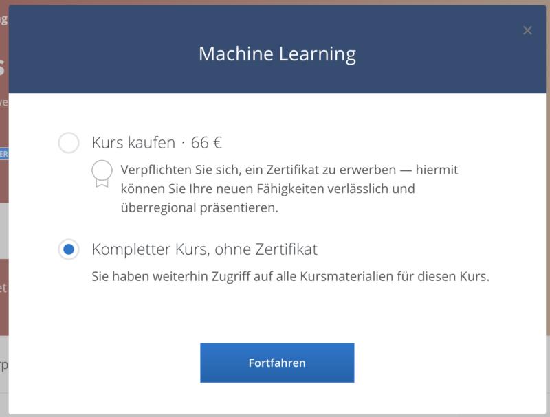 Coursera-Kurs mit oder ohne Zertifikat kaufen.