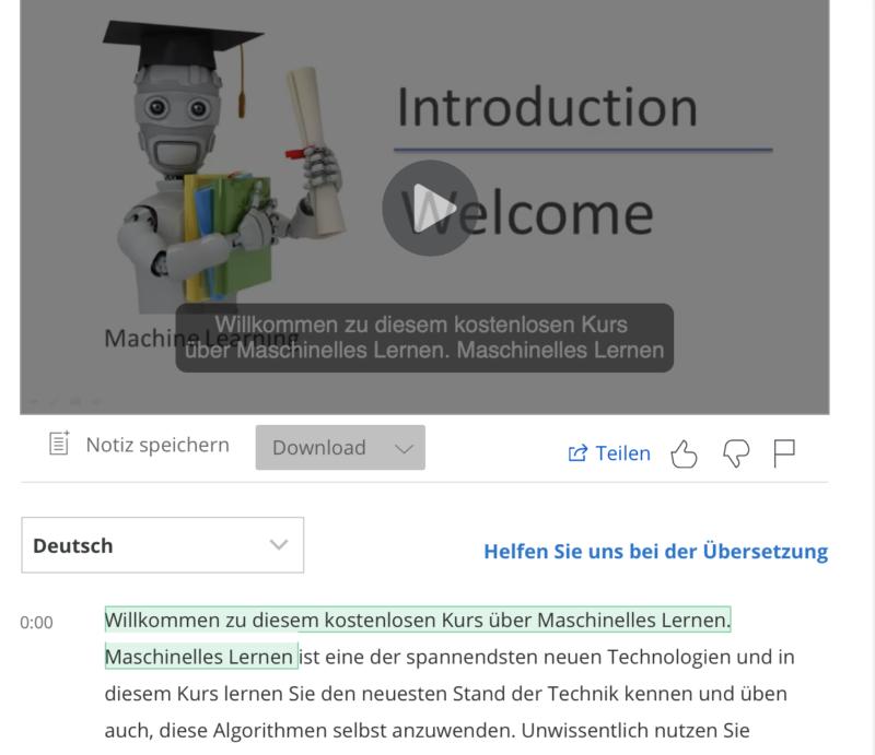 Die meisten Kurse sind mit einem deutschen Untertitel in sehr guter Qualität versehen
