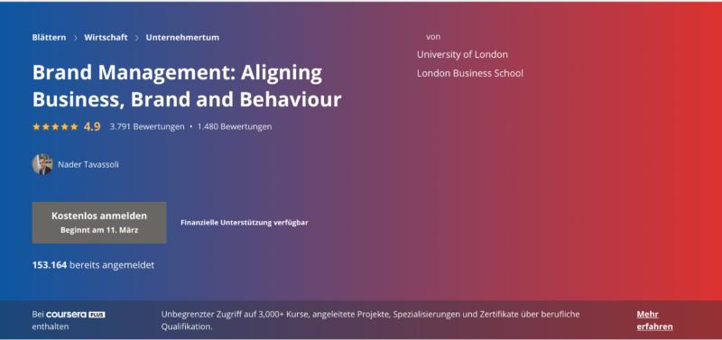 Kursbeispiel auf Coursera: Brand Management
