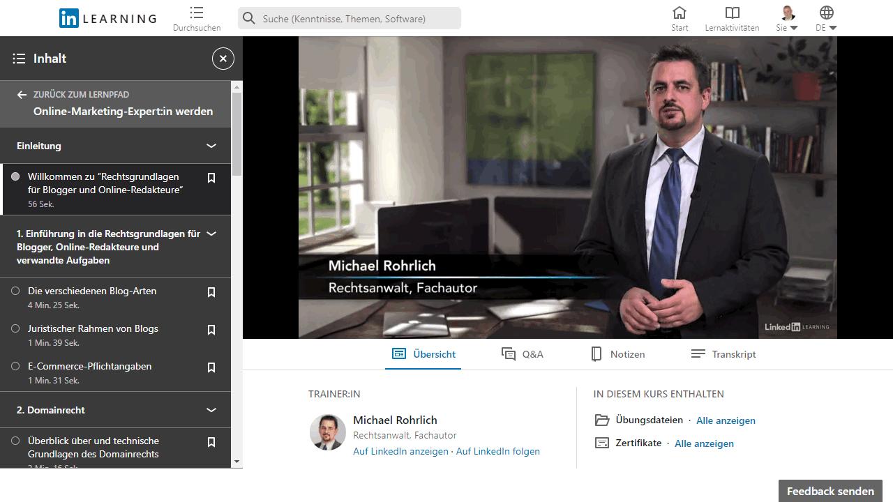 LinkedIn Learning Online-Kurs mit Videos