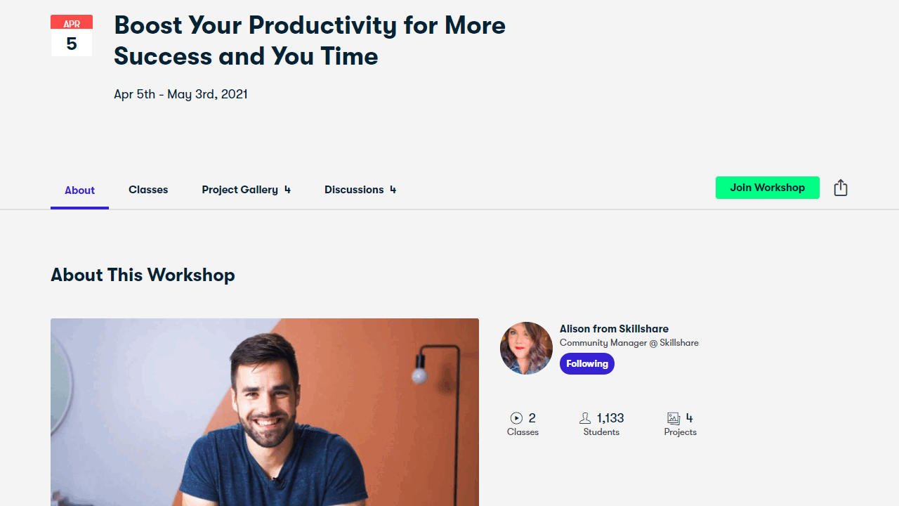 Der Skillshare Workshop: Boost Your Productivity for More Success and You Time