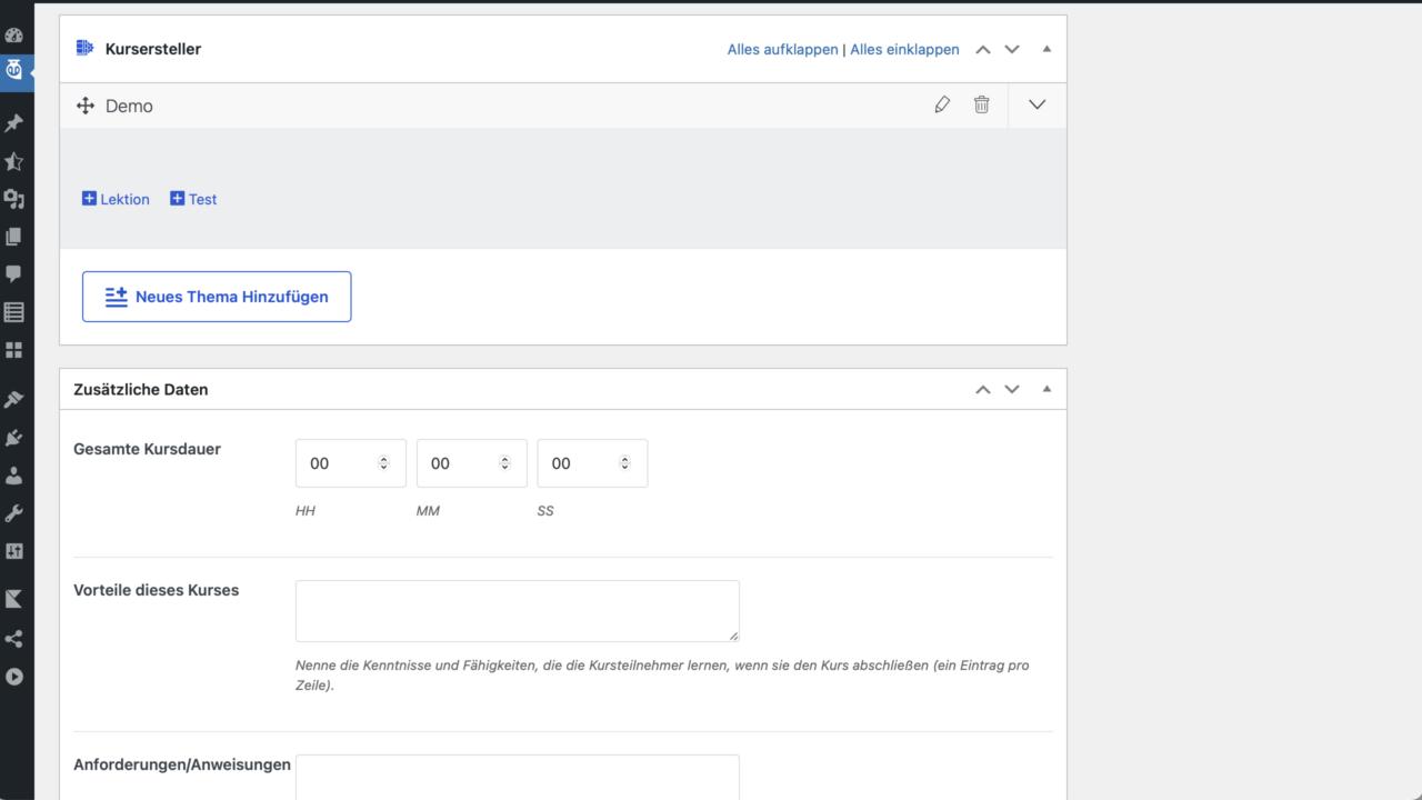 Tutor LMS Kurs Demo Screenshot