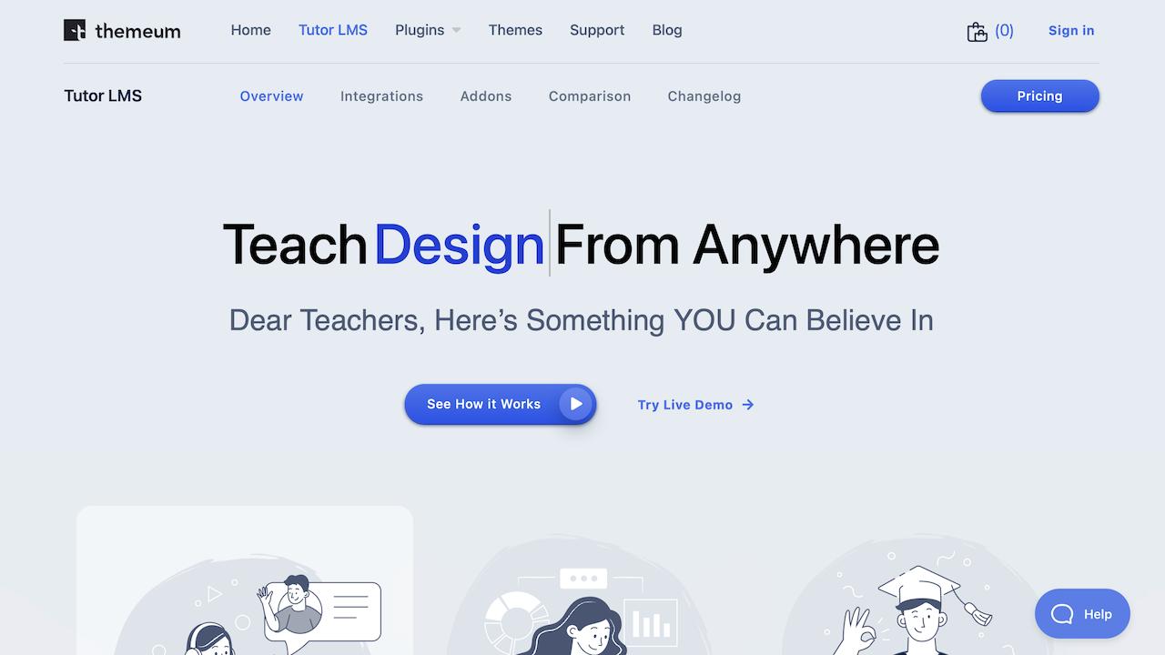 Screenshot Tutor LMS Homepage